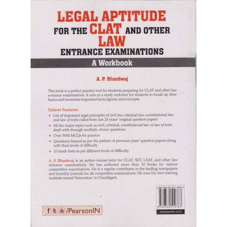 Pearson Publication [Legal Aptitude for the CLAT and Other Law Entrance Examinations A Workbook, Paperback] by A. P. Bhardwaj