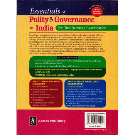 Access Publishing [Essentials of Polity & Governance in India, English, Paperback] by N D Arora