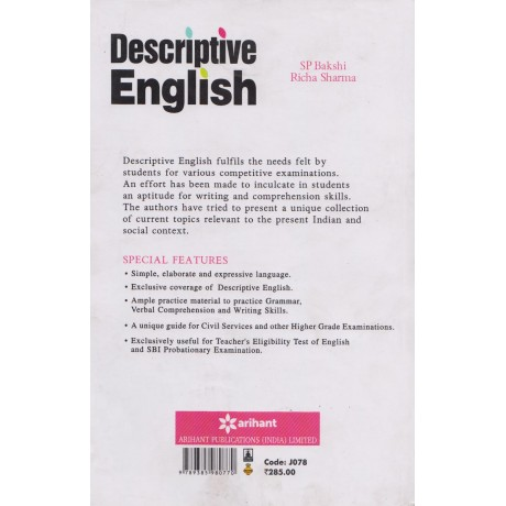 Arihant Publication [Descriptive English (Hindi)] Author- SP Bakshi and Richa Sharma