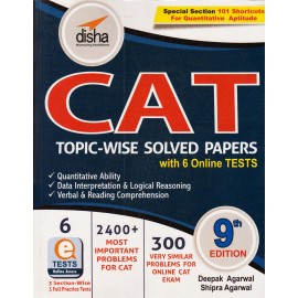 Disha Publication [CAT Topic-wise Solved Papers with 6 Online Tests 9th (English), Paperback] by Deepak Agarwal & Shipra Agarwal