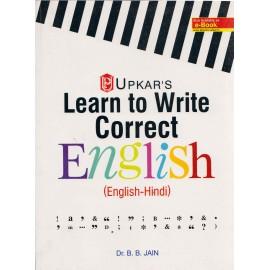 Learn to Write Correct English (English-Hindi) Paperback by Dr. B. B. Jain